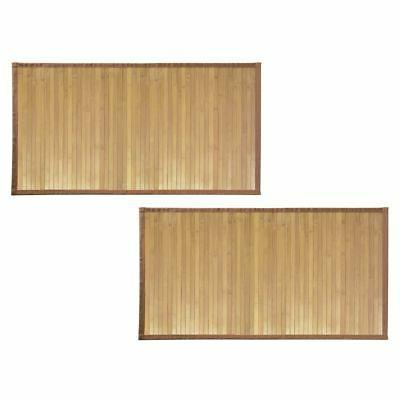 MDesign Bath Soft Bamboo Rectangular Spa Mat Rug With Fabric