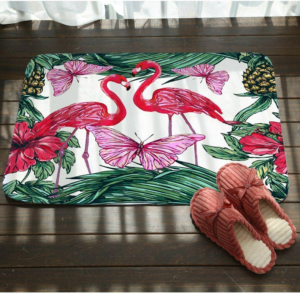 Bathroom Carpet Flamingos Pineapple Printed Bath Mat