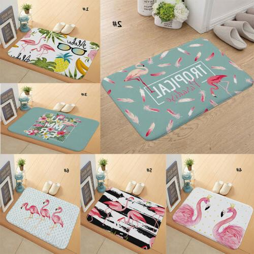 Bathroom Rug Mat Anti-slip Kitchen Floor Doormat Flamingo Pa