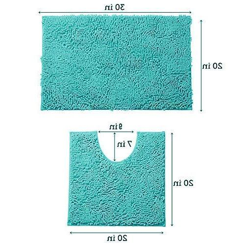 LuxUrux 2 Mat Set Bath + Microfiber Material, Super Absorbent Shaggy