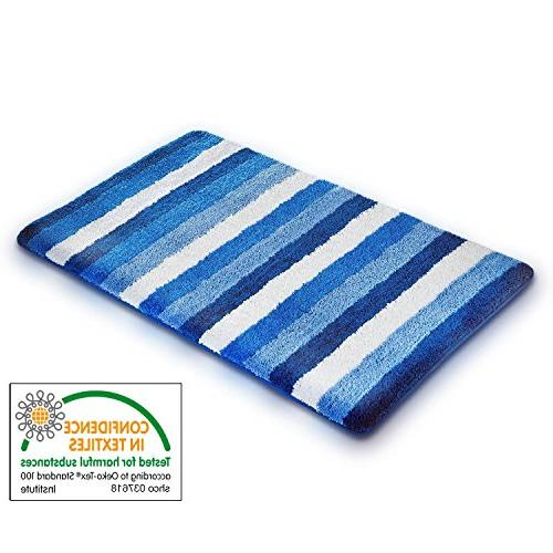 "casa Bathroom | Mat & Shower Mat | Multiple Color and Options Blue Nautical Stripes | 28"" x 48"""