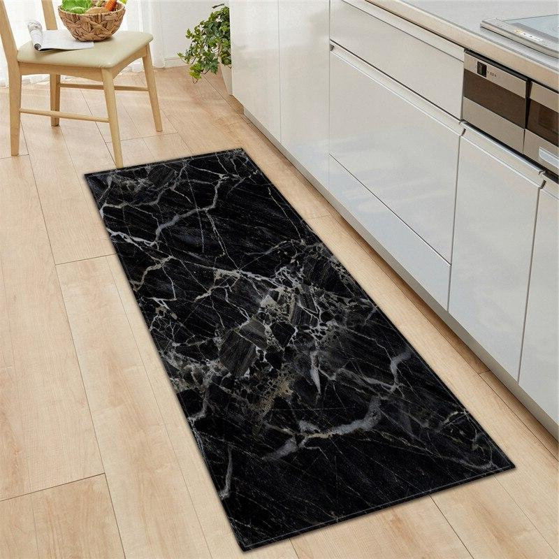 black white marble printed entrance doormat long