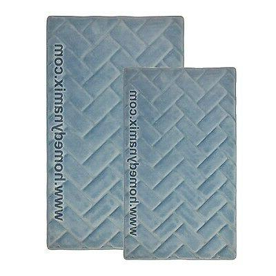 Blue Memory Foam Bath Mat/rug : Brick Design, Soft Microfibe