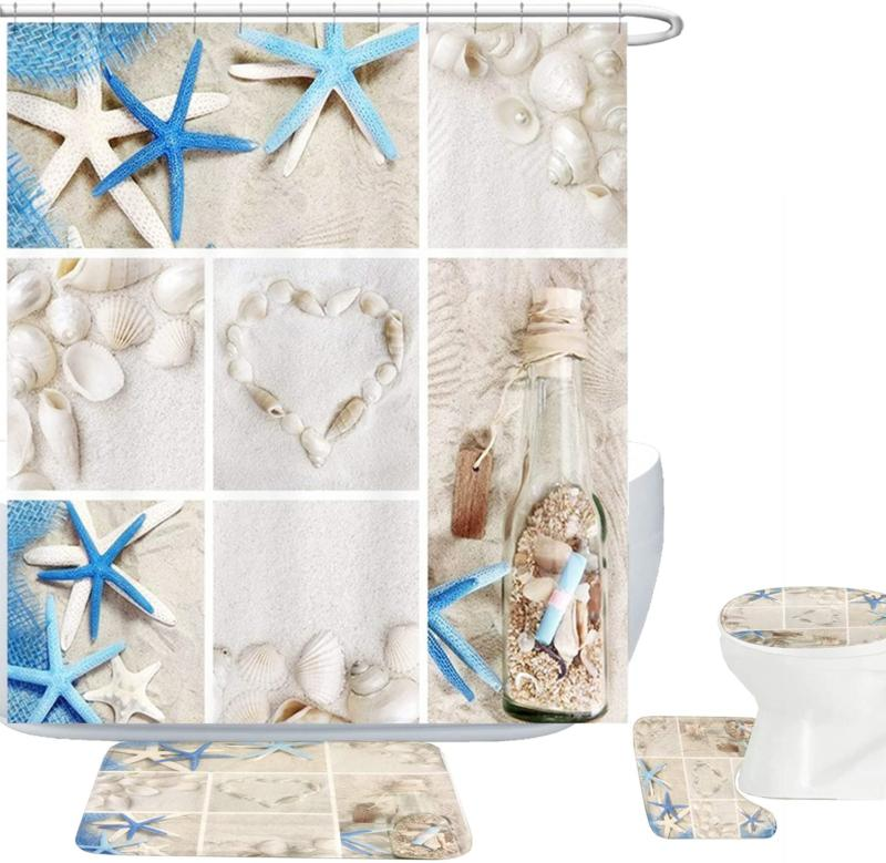 Amagical Blue Starfish Seashell Conch 16 Piece Shower Curtai