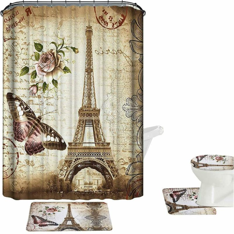 Amagical Brown Paris Eiffel Tower 16 Piece Bathroom Mat Set