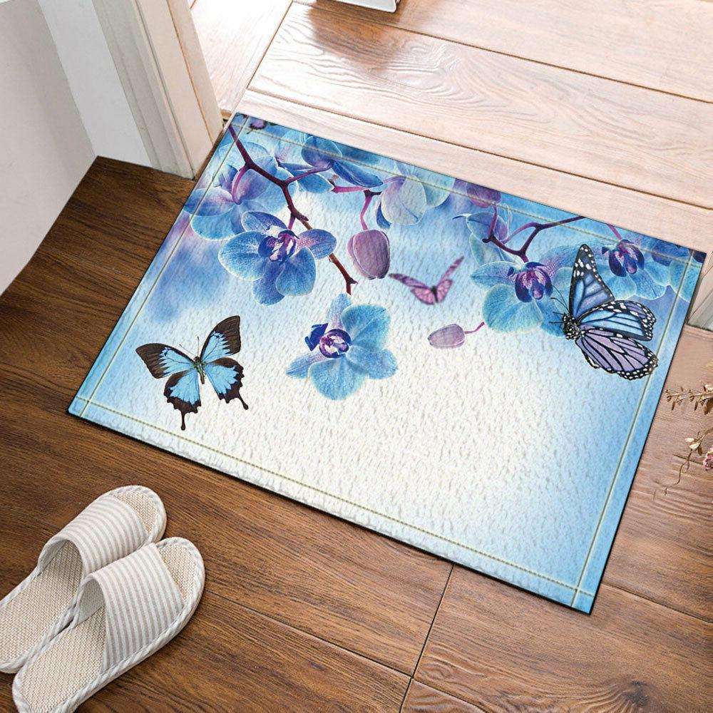 Butterfly and Orchid Flower Non Slip Bathroom Rug Carpet Bat