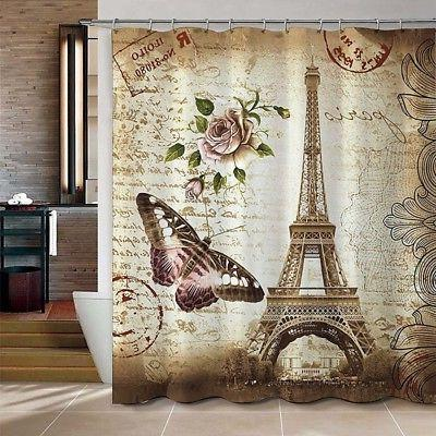 "Butterfly Eiffel Tower Polyester 71''x79"" Curtain+3PCS Bathroom Bath"