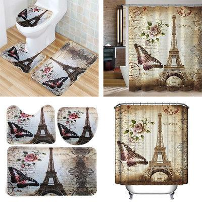 "Butterfly Eiffel Tower 71''x79"" Bathroom Bath"