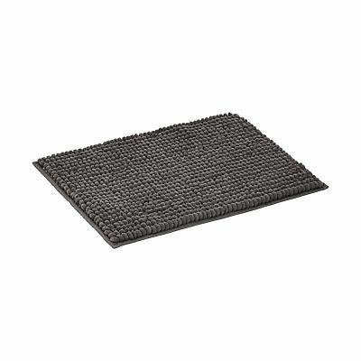 chenille loop bath mat grey large