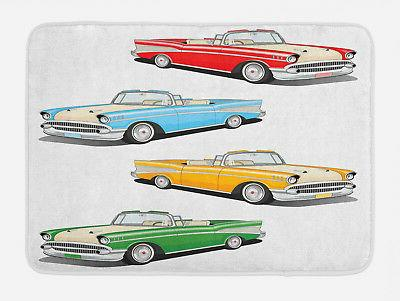 colorful bath mat roadsters old vintage non