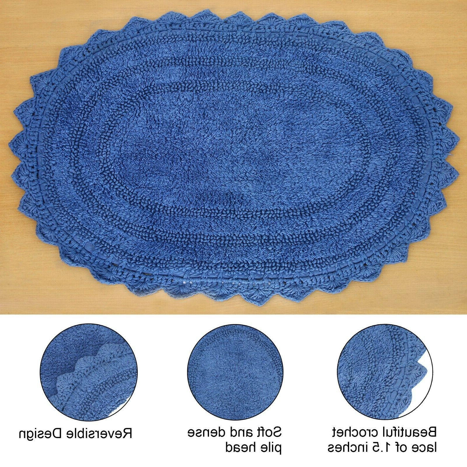 Cotton Bath Rug 17X24 Crochet Shape Shaggy Front