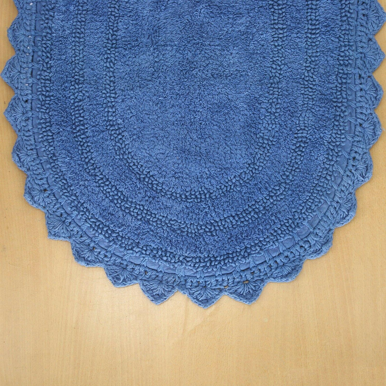 Cotton Mat Rug 17X24 Shape Shaggy Front Ocean Blue