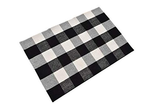 Ecoshome Cotton Checkered Plaid Rug Door Mat for Way Washable for Kitchen