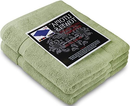 Utopia 21 34 Inches Banded Bath 2 Pack, Sage