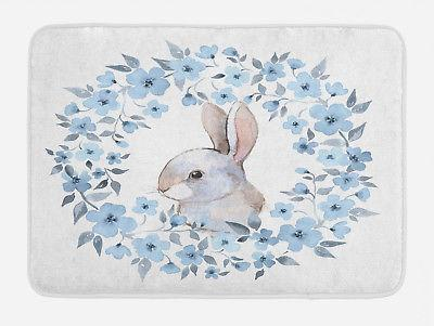 country bath mat bunny rabbit portrait non