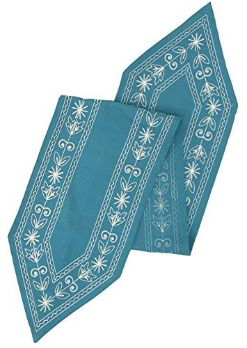 crewel embroidery table runner teal