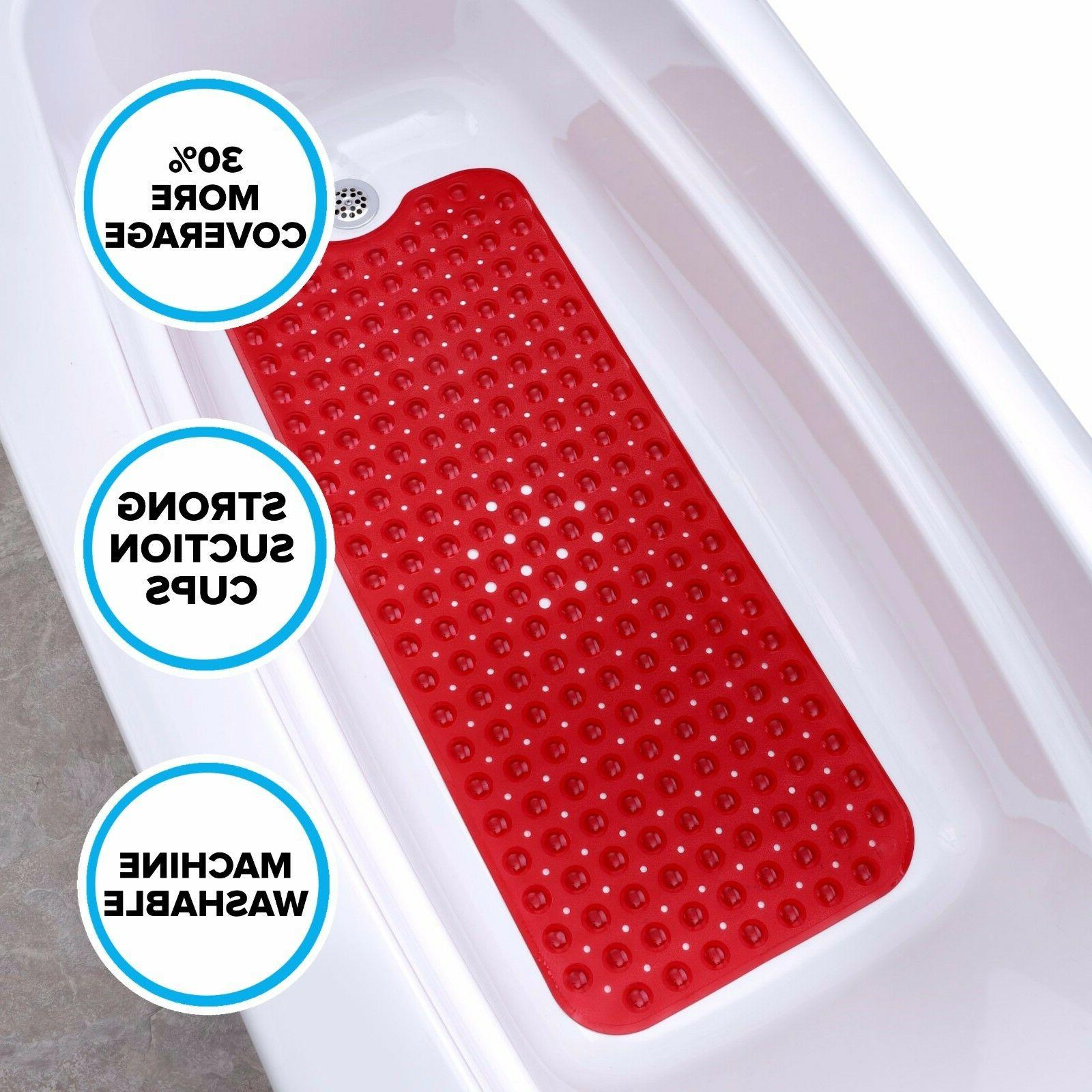 Extra Long Bath Mat: Red Non-Slip Bath Safety Mat with Sucti