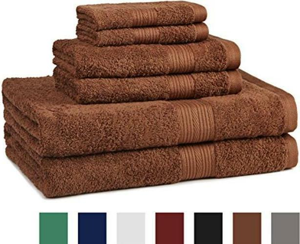 AmazonBasics Fade-Resistant 6-Piece Towel Assorted