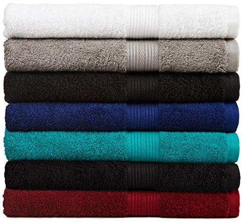 AmazonBasics Towel Set 6-Piece, Black