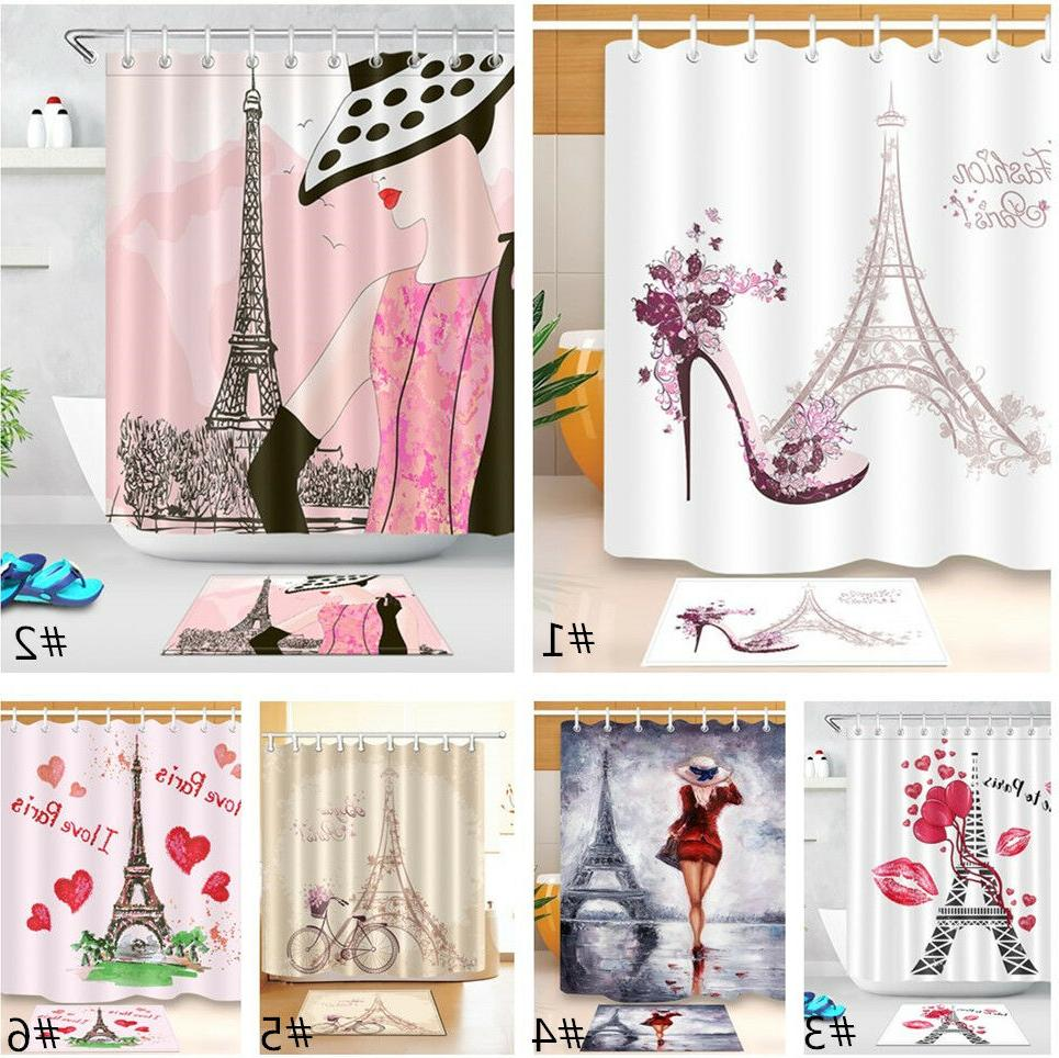 Fashion Paris Eiffel Tower Set Shower Curtain Bathroom Mat P