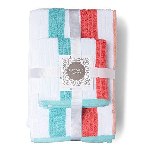 Caro Home 6 Piece - 2 Hand 2 Face Towels Striped and Heavy Plush Absorbent