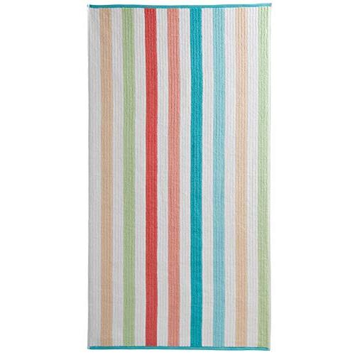 Caro Piece Bath Set - Bath 2 Hand Face Towels Combed Cotton Striped Pattern and Heavy Plush Absorbent