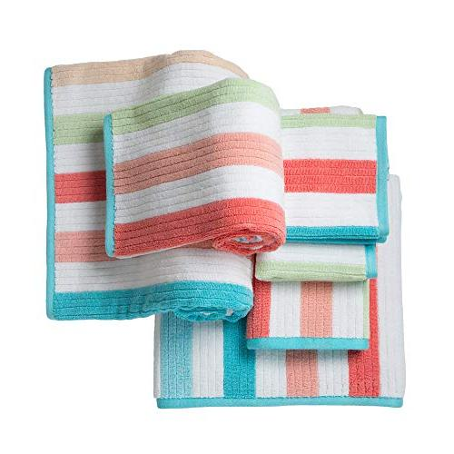 Caro Home - 2 2 Towels Face Towels Combed Striped Pattern Color, and Heavy Weight Plush Absorbent GSM