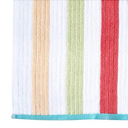 Caro 6 Piece - 2 Bath 2 Towels 2 Face Towels - Combed Premium Striped Pattern Color, Absorbent