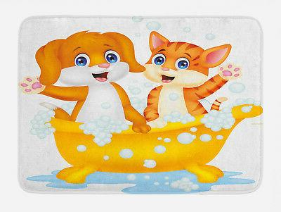 kids bath mat cartoon cat and dog
