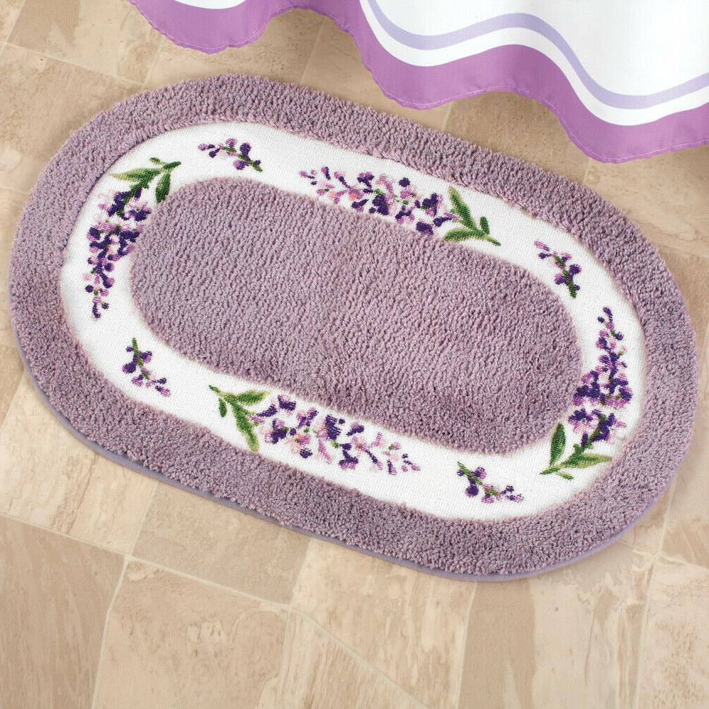 lavender with white floral border tufted bath