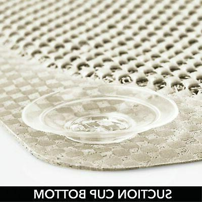 mDesign Cushioned Suction Bath Mat for Stall,