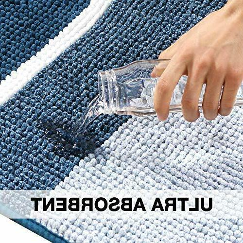 Luxury Chenille Rug, Gradient Blue Stripe Pattern Non Absorbent