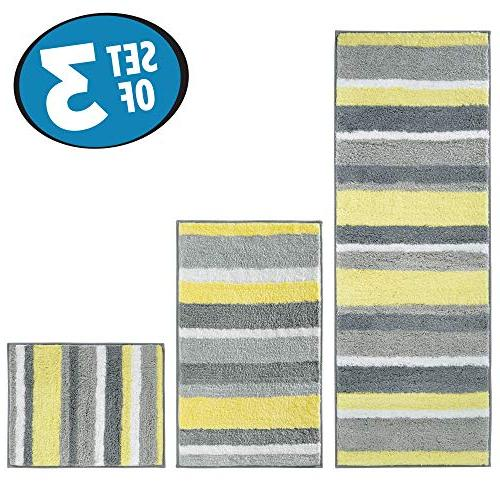 mDesign Microfiber Polyester Spa Rugs Bathroom Vanity, Absorbent, Machine Soft Non-Slip Rectangular Accent Rug in 3 Sizes Set 3 -