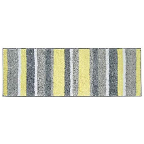 mDesign Polyester Spa Rugs for Vanity, Tub/Shower - Water Absorbent, Machine Washable, Soft Rug Mat in 3 Sizes Set 3 Gray/Yellow