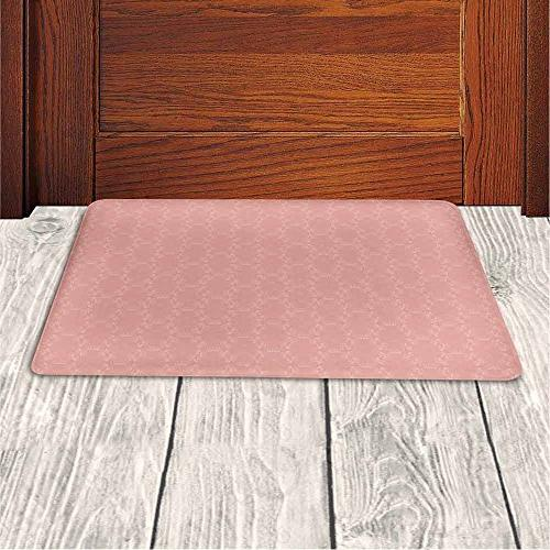 Memory Foam Colored Background Crowns and Floral with Faded Look Wanderlust Bathroom Rug Carpet Backing,Coral