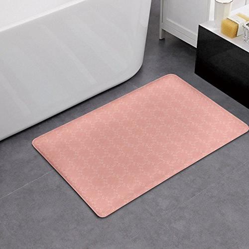 Memory Foam and Floral Abstract Motifs with Faded Wanderlust Rug Carpet with Anti-Slip Backing,Coral