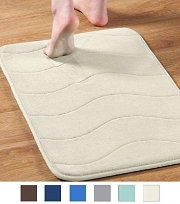 Memory Foam Bathroom Mat Coral Velvet Non Slip Rubber Backin