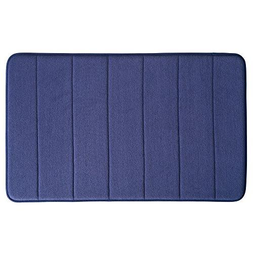 "mDesign Memory Bathroom Rug for Bathroom Sink x 21"", Navy"