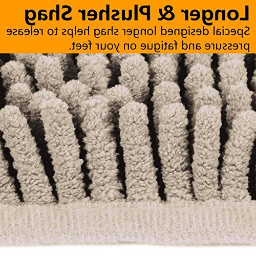 "VDOMUS Microfiber Set, Includes 32"" Shaggy Mat U-Shaped Toilet Floor Rug, Machine"