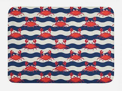 nautical bath mat cute crabs on striped