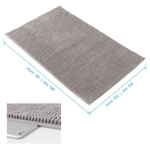 "Lifewit Non Slip Mat 32"" Bathroom Soft Rugs Gray"