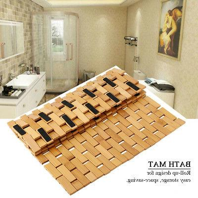 Non-Slip Wooden Natural Bathroom Oval Bath Mat