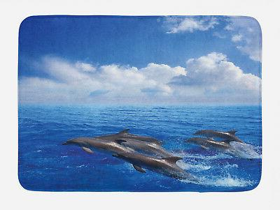 ocean bath mat jumping dolphins in sky