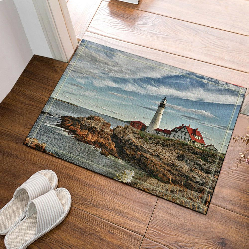 Ocean Lighthouse Soft Shower Room Mat Bathroom Cover Bath No