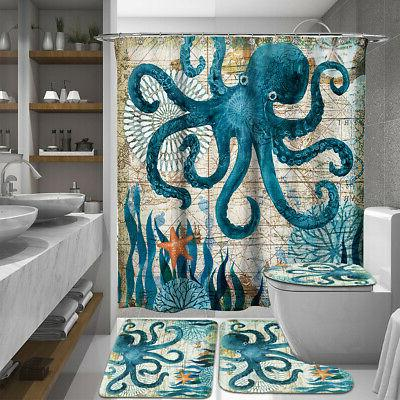 octopus bathroom polyester shower curtain toilet non