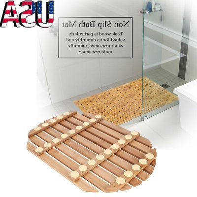 Non-Slip Wooden Natural Wood Bathroom Oval Rectangle Shower