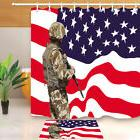 "Patriotic USA Soldier Fabric Shower Curtain 71X71"" Polyester"