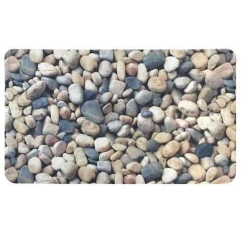 Pebbles Fabric Polyester PVC Printed Non Slip Bath Tub Mat 1