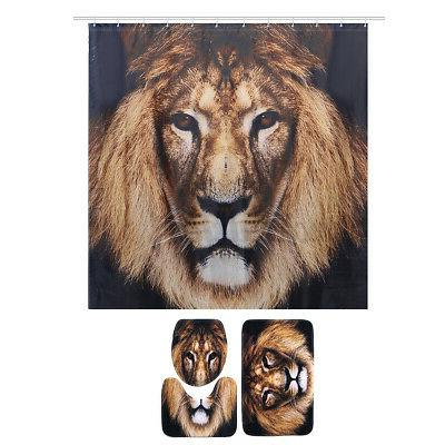Polyester Shower Curtain Bath Rug Lid Cover US
