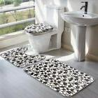 3Pcs/Set Bathroom Non-Slip Stone Pattern Pedestal Rug+Lid To